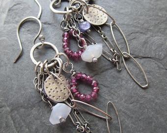 Long Silver earrings Purple Plum BOHO silver jewelry silver Charm Earrings Dangling Gemstone earrings wire wrapped Earrings Garnet