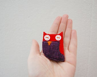 Owl Brooch, Fibre Brooch, Red and Purple Accessories made from Wool