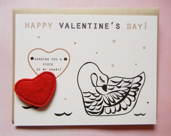 Valentine's or Galentine's Day Swan Heart Felt Applique Magnet Note Card with Envelope