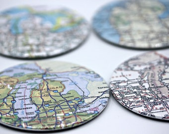 YOU CHOOSE US or International Atlas Map Cities States Towns 3.5 Inch Button Coasters Set of 4