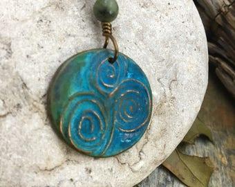 Newgrange Copper Pendant, Connemara Marble, Verdigris Patina, Irish Celtic jewelry, Pagan Jewelry, Druid Jewelry, Triple Spiral, Necklace