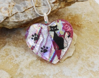 Pawprints on my Heart, Pink Dichroic  Heart Pendant, Fused Glass Heart Pendant, Fused Dichroic Cat Lover Pendant - Cat Lover Jewelry