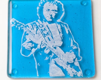 Tony Iommi Black Sabbath Guitarist Fused Glass Coaster, Music, Singer, Musicia , Rock and Roll, Heavy Metal