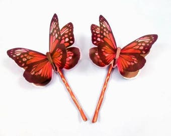 Set of 2 Butterfly Bobby Pins, 3-D Hair Accessories, Orange and Copper Hair Clips, FREE Shipping U.S.