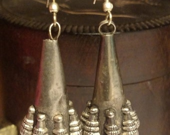 Winter Sale Super Long Vintage Tribal Rajastan Type Belly Dance Ethnic Silver Earrings Pierced Bellydance Rajasthani