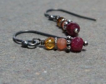 Ruby Earrings Peach Moonstone, Citrine Oxidized Sterling Silver Earrings Gift for Girlfriend Gift for Wife