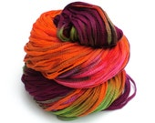 Tulip Garden, Hand Dyed, Hand Painted, Ribbon, Yarn, Orange, Purple, Pink, Green