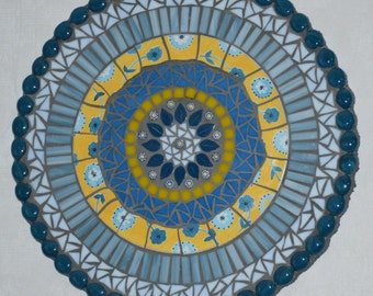 Mosaic Mixed Media Wall Art Plaque-Blue and Yellow