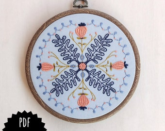 SPRING DREAM - pdf embroidery pattern, embroidery hoop art, floral mandala, leaves and thistles, pink blue gold floral hoop, poppy seed pods