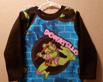Boys Handmade fleece Teenage Mutant Ninja Turtle licensed fabric sweatshirt!  Top!  Size 6/7!