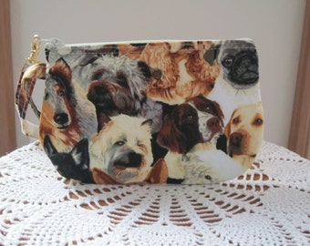 Wristlet Zipper Gadget Clutch  Purse Pouch in Beautiful Dogs