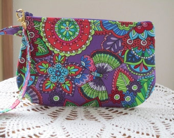 Retro Bohemian Floral Wedding Clutch Wristlet Zipper Gadget Purse Pouch Butterflies in Purple