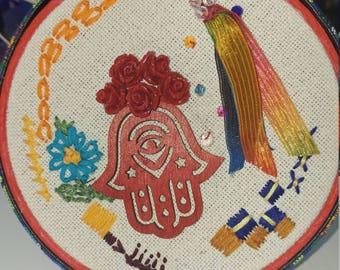 Hamsa Hand Embroidery Art