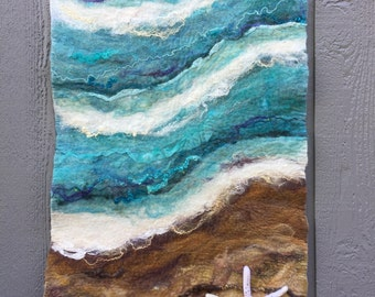 No.26 Beach Too - Wet felted wall hanging