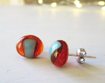 Small Earrings, Stud Earrings, Glass Earrings, Post Earrings, Handmade Fused Glass Earrings, Sterling Silver Posts, Unique Earrings,
