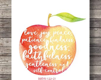Fruit of the Spirit Galatians 5v22 | Printable art  Apple watercolor | typography Scripture print | Instant download| Bible verse art