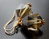 Smoky Quartz Earrings,Geometric Brown Earrings, Gold Vermeil, Simple Bridal Jewelry