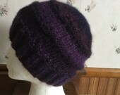 Hand Knit Purple Adult Hat