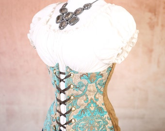 Waist 29-31 Wench Vintage Teal Paisley w/brown back Panel