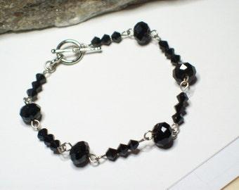 Black Swarovski Crystal Chain Bracelet, Black Crystal Bracelet, Black Crystal Chain Bracelet, Swarovski Crystal Chain Bracelet