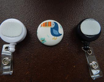 Fabric Covered Button for Clip on Retractable Badge Reel - Toucan Bird
