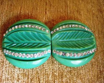 Vintage Green Carved Bakelite Double Belt Buckle with Rhinestones