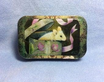 Altered Altoid box, trinket box, tiny art box, fairy, mouse , Melody Lea Lamb