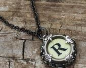 Custom Initial Necklace, Vintage Typewriter Key, Letter R, Gift Idea For Grandma