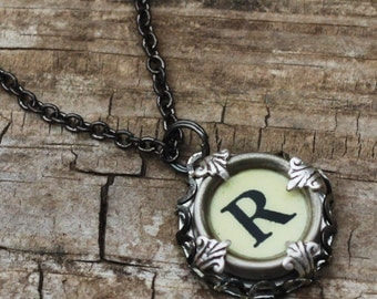 Custom Initial Necklace, Vintage Typewriter Key, Letter R, Gift Idea For Grandma