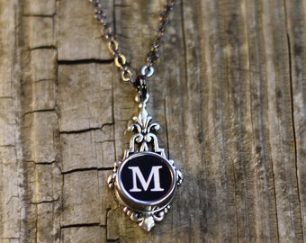 Initial Necklace, Letter M, Vintage Typewriter Jewelry, Gift Idea For Mom