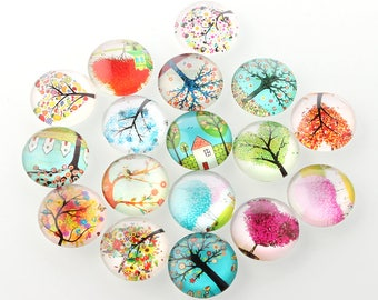 20pcs 10mm Glass Tree of Life  Printed Dome Cabochon Cameo Cover Cabs GGLA-A002