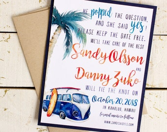 Beach Save the Date Cards - destination wedding - surfboard save the date - vw van save the date - surf wedding - watercolor wedding -