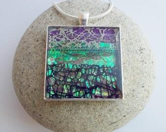 Square Purple and Sea Green Pendant Necklace