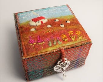 Harris Tweed and Shetland Wool Felt Trinket Box