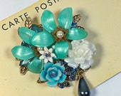 Natalie Vintage Collage Brooch Teal  Spring flowers rose blue pearl Pin upcycle rhinestone