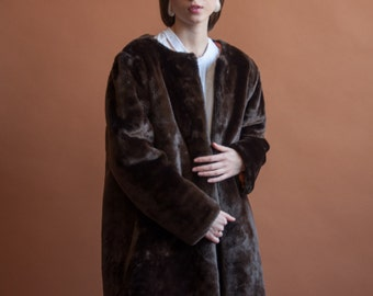 dark brown faux fur coat / oversized 60s coat / oversized coat / m / 2157o / R5