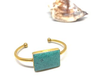 Turquoise on a 24Kr electroplated bracelet