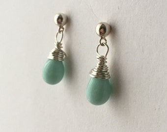 Mint Green Earrings. Small Mint Bead Earrings. Teardrop Earrings. Sterling Silver Earrings. Briolette Earrings. UK Shop