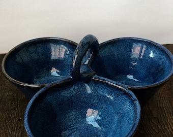 ON SALE Three Bowl Cobalt Blue Condiment Server Wheel Thrown Pottery Ready to Ship