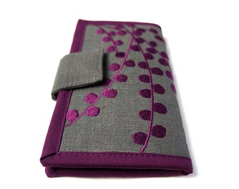 Womens wallet / MADE TO ORDER / Plum Pods Wallet / Handmade fabric Wallet /  embroidered wallets for women / Women's Gift