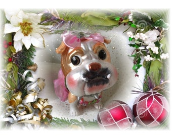 Cute as can be English Bulldog Glass Christmas Ornament with Handmade Hanger w/Swarovski Crystals, Unique Gifts, Dog Lover Gifts