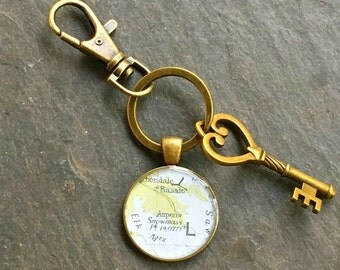 Aspen Keychain Bronze with Ring Swivel Clasp and Key Colorado Vintage Map