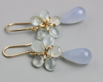 Aquamarine Flower and Chalcedony Drop Earrings