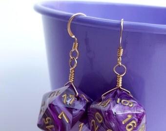 Dice Earrings - D20 Twenty Sided Dice Jewelry - Purple Swirl Dice - Geeky Gamer Jewelry