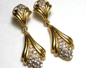 SJK Vintage -- Oscar de la Renta Signed Neoclassical Brushed Gold and Rhinestone Pierced Earrings, Drop and Dangle (1980's)