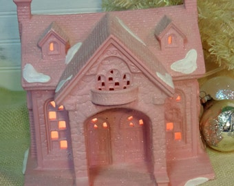 Large Shabby Chic Pink Glittered Christmas Cottage, Lighted Christmas House, Christmas Village