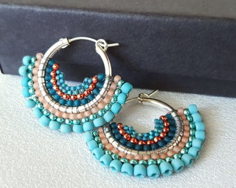 Mariposa - Turquoise and Coral Beadwoven Butterfly Wing Earrings
