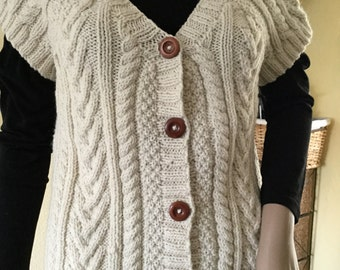 Aran Traditional Cable Ladies Waistcoat/ Woman's Gilet/ Short sleeved Jacket- Ready to Ship - Reduced