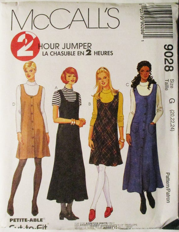 365299aea9c2f 1990s Misses Sewing Pattern McCalls 9028 Misses Jumper in Two Lengths   Top  Pattern Size 20