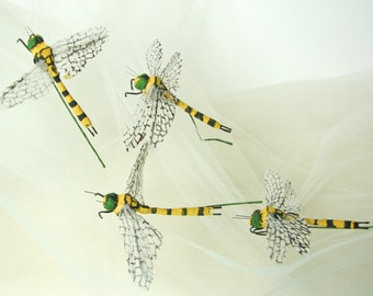 Vintage dragonfly on wire, hand painted paper and fabric dragonfly, millinery supplies, bouquet supplies, boutonniere, unique insect